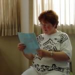 Doris Middleton reading her poetry.