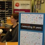 Volunteer Appreciation Sign indicating 25 years of building literacy in Guelph.