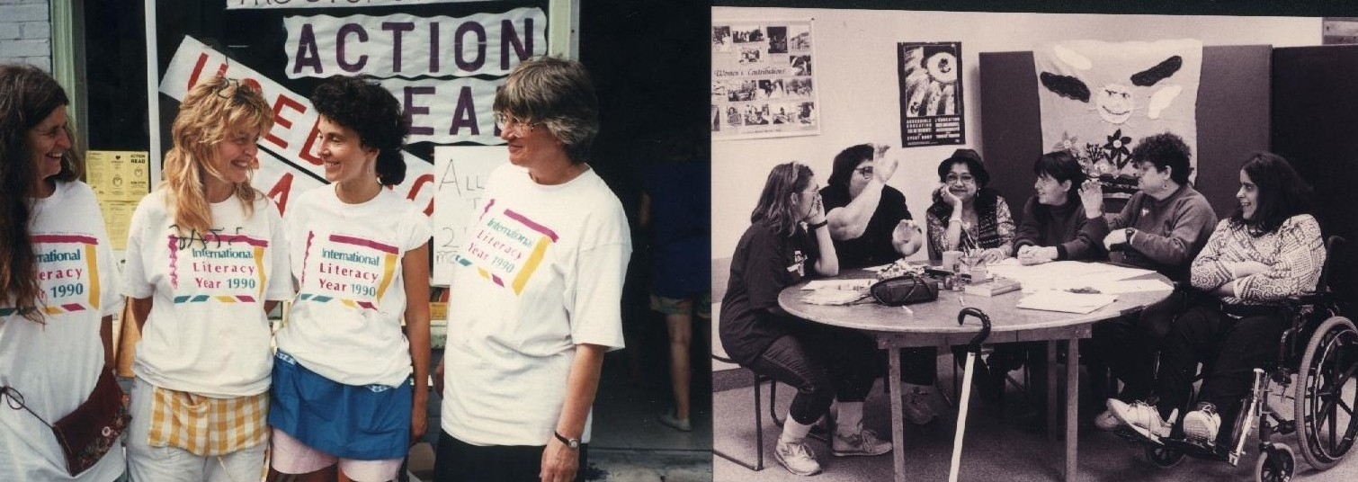 Early Days! First staff (L) and first women's group (R)
