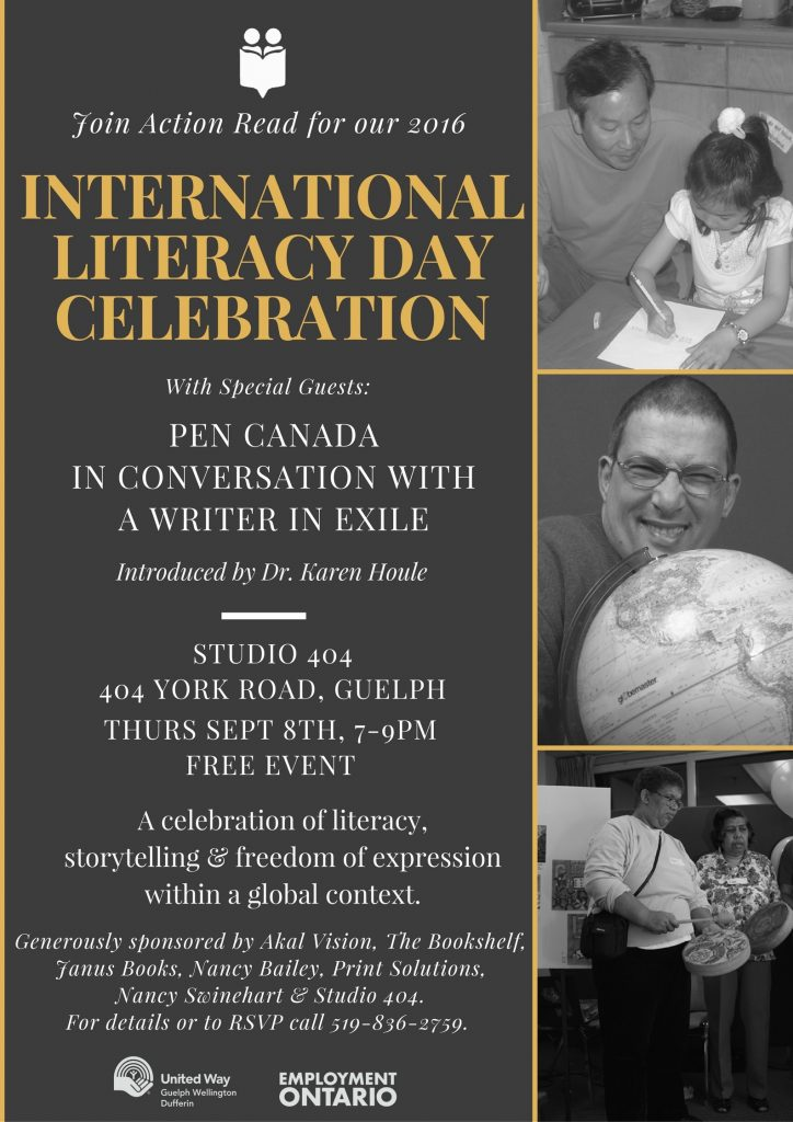 Action Read Literacy celebration with PEN Canada, Thurs Sept 8, 2016.